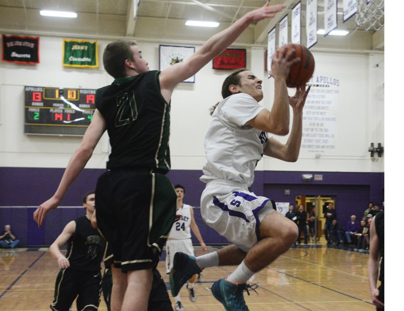 by: TIMES PHOTO: MATT SINGLEDECKER - Sunset senior guard Mikey Fey came up with two huge hoops in the fourth quarter to help the Apollos upend Jesuit on Wednesday to win the Metro League title.