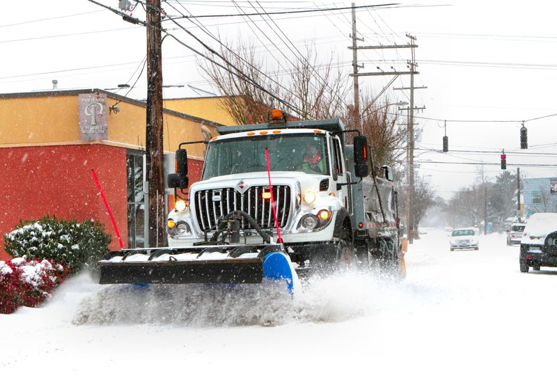 by: DAVID F. ASHTON - Not often seen here - a snow plow! It was clearing a path on S.E. Milwaukie Avenue, south of Holgate Boulevard.