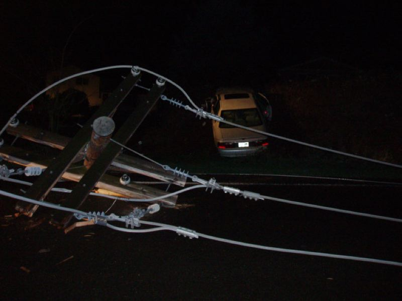 by: CLACKAMAS COUNTY SHERIFF'S OFFICE - A car collided into a power pole in Clackamas County early Tuesday morning, knocking out power to more than 3,000 PGE customers. The driver was drunk, police said.