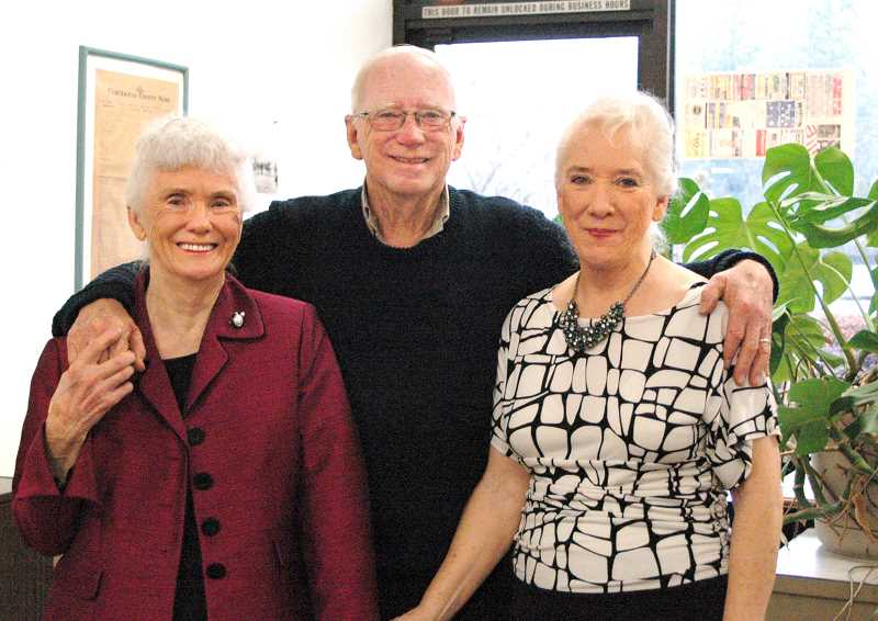 by: ISABEL GAUTSCHI - Betty Jean McDaniel, Lee Van Winkle and Dona Scott smile before breaking out in perfect three-part harmony. The siblings dropped by the Estacada News office and gave a preview of the music that will be performed at the sing-along.
