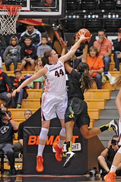 by: COURTESY OF DAVE NISHITANI - Ruth Hamblin, Oregon States 6-6 center, brought her defensive presence to the Beavers and now is emerging as a threat in other ways for a team that tied for second in the Pac-12 regular season.