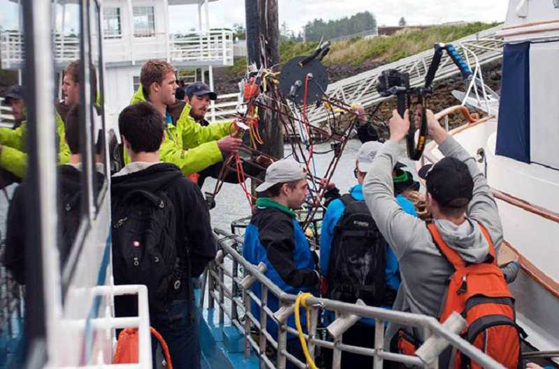 by: SUBMITTED PHOTO: TAL VOLK - Riverdale High School students rented a boat to test experiments on the Oregon coast in the student-taught XV: Oceans class last year.