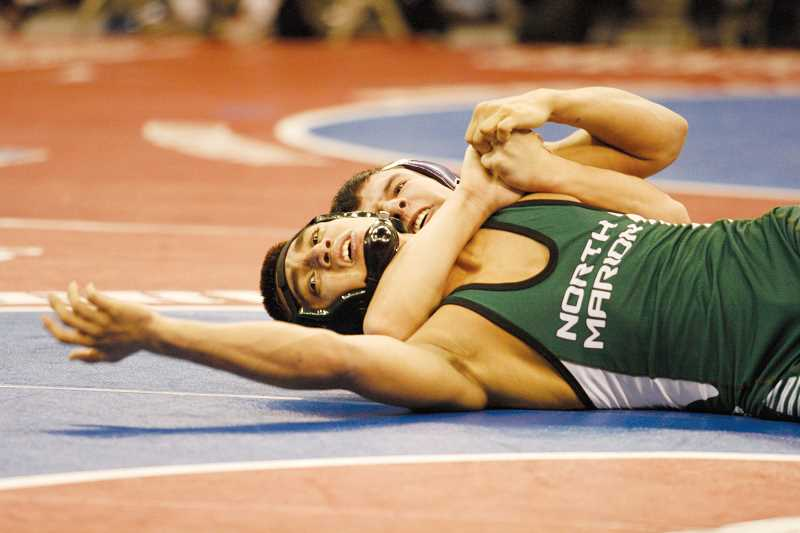 by: PHIL HAWKINS - Damian Chavez lost his first-round match to Daine Taylor of Henley, but went on to score his first victory at state in the consolation bracket before being eliminated.