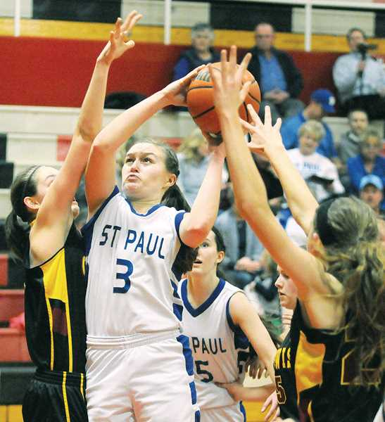 by: SETH GORDON - Sara Pierson and the Bucks have limited opponents to just 25.9 points since Jan. 28 and have built a record of 9-2 in the process. St. Paul will take their defense to Baker City for a Wednesday quarterfinal game against Dufur.