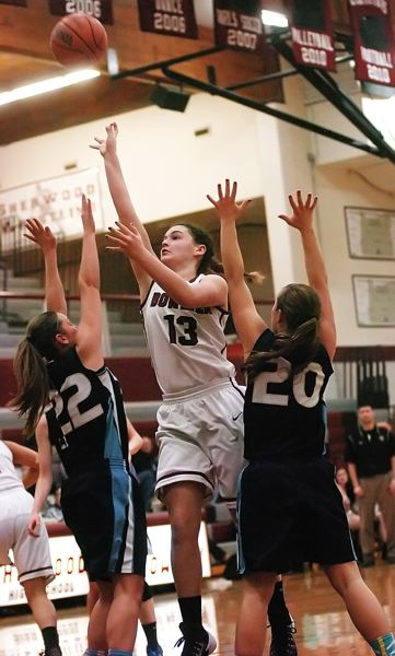 by: DAN BROOD - BIG SCORER -- Sherwood High School junior post Mallory Shields (13) scored 18 points in the Lady Bowmen's win over Liberty on Friday and followed that up with 28 points in a play-in victory over Churchill.
