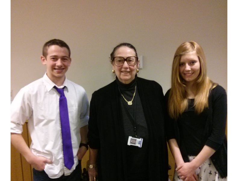 by: SUBMITTED PHOTO - Sauvie Island Academy students Austin Hayes (left) and Haylee Hopkins (right) stand next to state Se. Betsy Johnson, D-Scappoose (center), last Thursday, Feb. 27, in Salem.