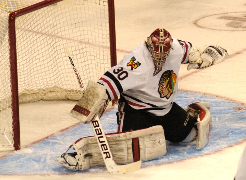 by: PAMPLIN MEDIA GROUP: PARKER LEE - Winterhawks goalie Corbin Boes makes a kick save in the first period of Fridays home win over Seattle.