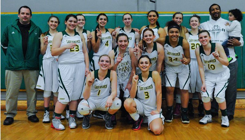 by: JOHN LARIVIERE - Putnam players pose proudly after completing an undefeated league season and capturing their schools first league title in girls basketball since 1982. Pictured are: (front, from left) Shelby VanLeuven and Kelsea Baton; (first row) Jordan Oliver (23), Mariah Oliver, Ali Schooley, Alexis Imbler-Hudson, and Olivia Beko; and (back) coach Kris Leatherman, Maggie Batz, Megan Spaulding, Brooke Snyder, Haley Brandel, Angela Arrington, Carly Bolander, Kanani Kremers, head coach Otis Oliver and daughter Paxton.