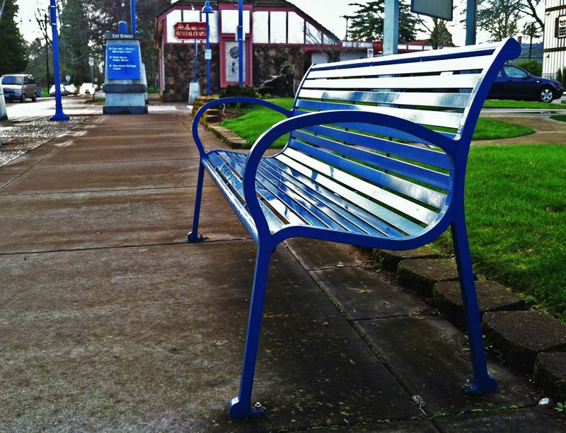 by: SPOKESMAN PHOTO: JOSH KULLA - Blue is the color of Old Town Sherwood. Everything from the benches, utility poles and garbage cans are painted royal blue in this historic district. Wilsonville is currently preparing to examine a similar plan.