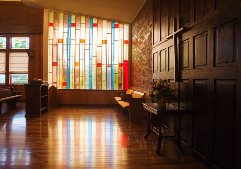 by: SPOKESMAN PHOTO: JOSH KULLA - It has that wow factor, said Hubbard Chapel owner Randy Durig, referring to the light streaming in through the stained glass windows in the 120-year old building.