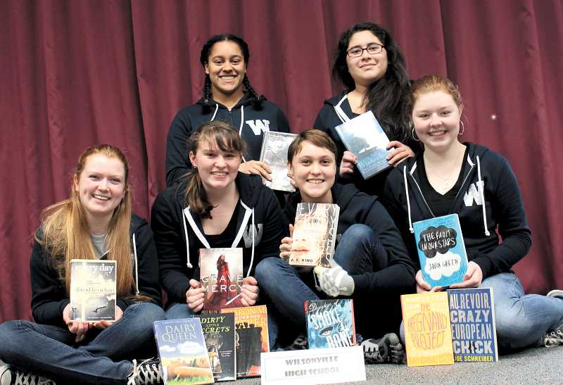 by: KATE HOOTS - Wilsonville High Schools team members take first at the Oregon Battle of the Books regional competition March 1. Back row, from left, Samantha Holman and Francelia Juarez. Front row, from left, Olivia George, Kaitamaria Pounce, Addison Knote and Catie Willard.