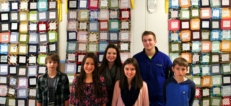by: OUTLOOK PHOTO: JIM CLARK - Mason Cote, Gabbi Nowodworski, Cailyn Crain, Emily Stout, Alex Wells and Gavin Oltean helped provide leadership for Damascus Middle Schools quilt project.