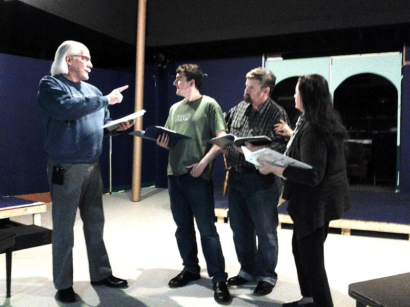 by: CONTRIBUTED PHOTO - Curtis Hanson, Chris Botcheos, Jim Lamproe and Berta Linbaugh rehearse a scene for the Readers Theatre pesentation of Ah, Wilderness! by Eugene ONeill.