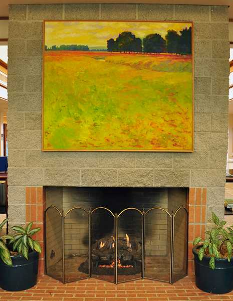 by: SUBMITTED PHOTO - This painting by artist Stephen Hays hangs above the fireplace at West Linn Public Library.
