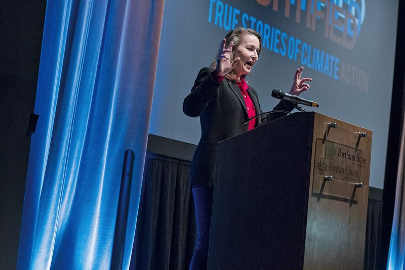 by: PAMPLIN MEDIA GROUP: JONATHAN HOUSE - Cylvia Hayes talks about she gained a love for nature while growing up, during the Fortified: Stories of Climate Action event at PSU.