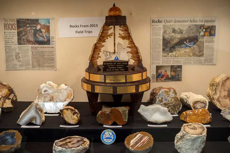 A display set up by 13-year-old Brian True of Cornelius showcases the trophy he received as the Tualatin Valley Rock and Gem Clubs 2013 member of the year.