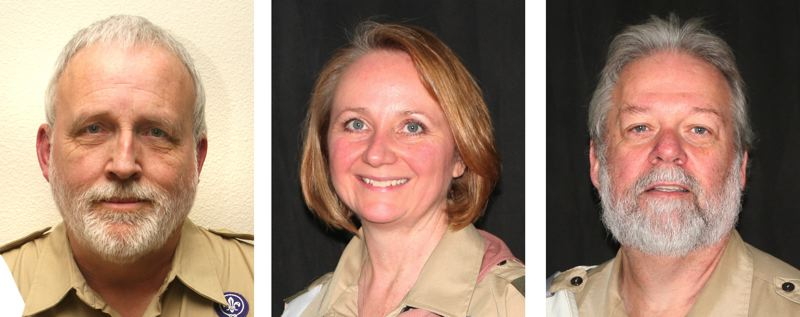 by: CONTRIBUTED - From left, Jim Wyatt, Jerilee Dale and Mike Bump all received honors from the Boy Scouts of America, Cascade Pacific Council.