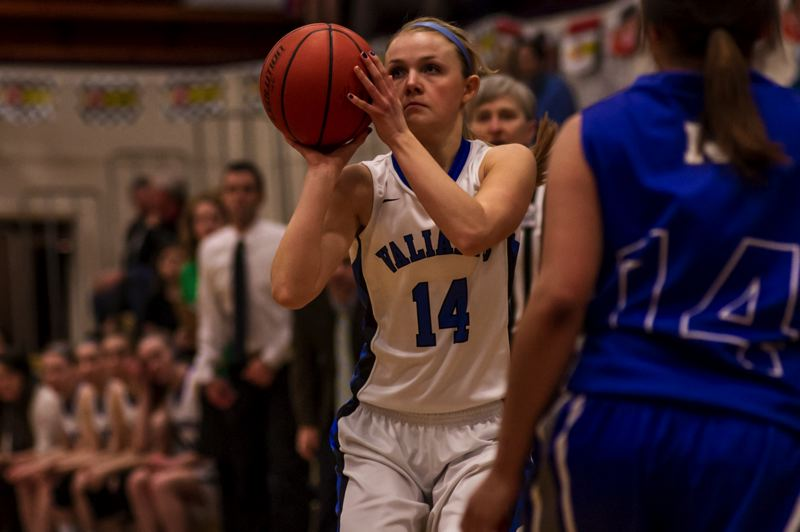 by: TIMES PHOTO: JOE CRAMER - Valley Catholic senior guard Lindsie LaBonte and the Valiant girls' basketball team made it to the state championship for the second time in two years, but couldn't beat Vale, who pulled away in the fourth.