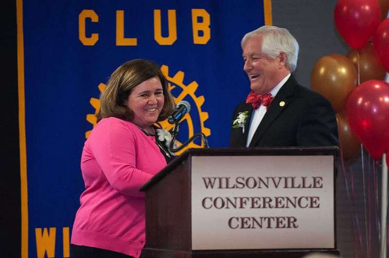by: SPOKESMAN PHOTO: JOSH KULLA - Kathryn Whittaker, (left) accepts the 2014 Wilsonville First Citizen Award from Wilsonville Rotary President John Holley Saturday night at the Heart of Gold banquet at the Wilsonville Holiday Inn.