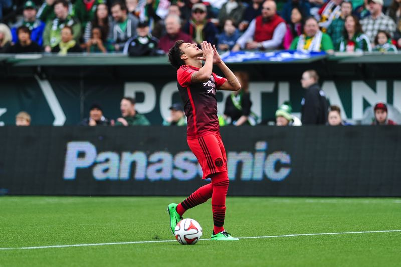 by: COURTESY OF JOHN LARIVIERE - Maximilliano Urruti reacts to an offsides call against the Portland Timbers.