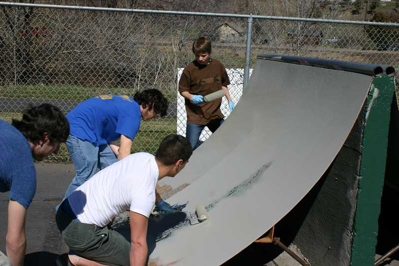 by: JASON CHANEY - The project took two days with help from more than a dozen skate park patrons