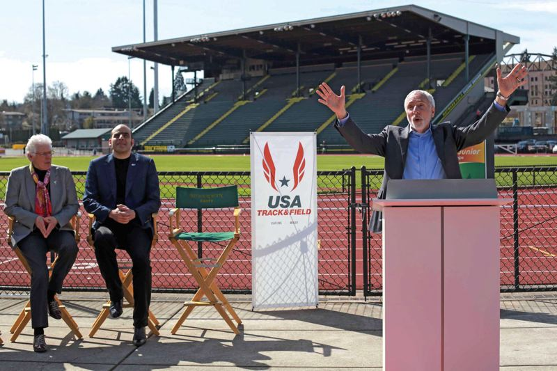 by: COURTESY OF KATHRYN BOYD-BATSTONE/TRACKTOWN USA - Vin Lananna (right), president of TrackTown USA, welcomes guests, including IAAF Council member Abby Hoffman (left) and Essar Gabriel, IAAF general secretary, to Hayward Field, site of the 2014 world juniors track and field championships.