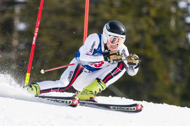 by: SUBMITTED PHOTO - Wilsonville High School student Jack Knutson took third place at the state skiing championships March 6-7 at Mt. Hood Meadows.