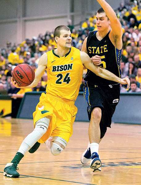 by: COURTESY OF NORTH DAKOTA STATE UNIVERSITY - Stellar season - In his senior season, Taylor Braun has averaged 18.2 points, 5.5 rebounds, 3.9 assists and 1.6 steals per game, all team highs, to earn player of the year honors in the Summit League.