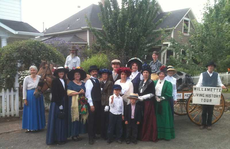 by: SUBMITTED PHOTO - Many West Linn folks have been into the history of their town for a long time. Here are the cast and crew of the Willamette Living History Tour of 2013.