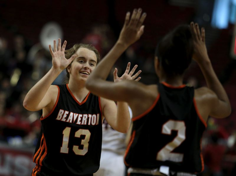 by: TIMES PHOTO: JONATHAN HOUSE - Beaverton's Alyssa Christiansen celebrates a playoff win over Clackamas.