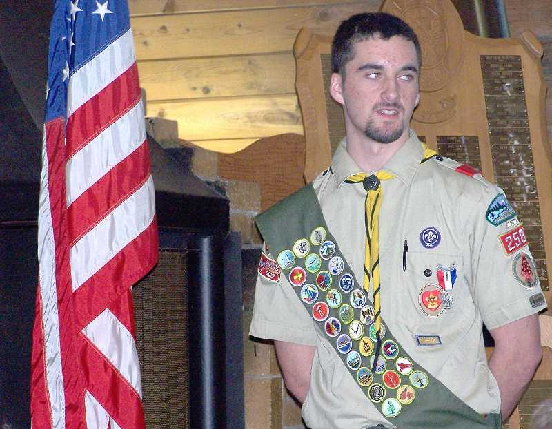 by: SUBMITTED PHOTO - Canby Boy Scout Troop 258's Jonathan Inman received his Eagle Scout award in a special ceremony March 1.