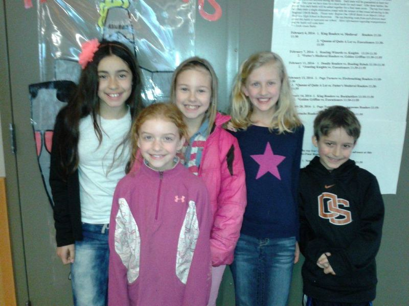 by: PHOTO SUBMITTED BY KRISTY LARSON, FOURTH-GRADE TEACHER AT OTTO PETERSEN ELEMENTARY SCHOOL - The Otto Petersen Elementary School fourth-grade Oregon Battle of the Books team that competed in a regional battle last Saturday, March 15, from left to right: Isabella Amaro, Elena Winkel, Madison Mobley, Molly Hagen and Jax Ekstrom.