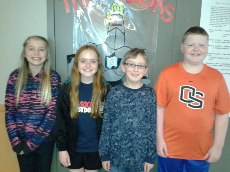 by: PHOTO SUBMITTED BY KRISTY LARSON, FOURTH-GRADE TEACHER AT OTTO PETERSEN ELEMENTARY SCHOOL - The Otto Petersen Elementary School sixth-grade Oregon Battle of the Books team that competed in a regional battle last Saturday, March 15, from left to right: Emma Jones, Taryn Verzino, Corbin Ulibarri and Matt Wallen.