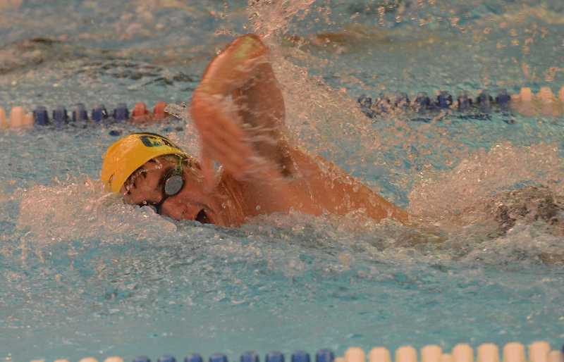 by: JEFF GOODMAN / FILE - Cole DeRisio earned second-team all-conference honors as a member of the Canby boys swimming team's 200-yard freestyle relay. He also received honorable mention in the 100 butterfly.