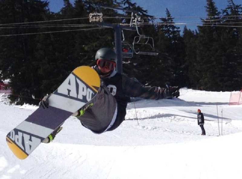by: SUBMITTED PHOTO - Canby senior Chris Flake earned three medals and four top-10 finishes at the Oregon Interscholasatic Snowboard Association state championships March 13-15 at Mt. Bachelor.