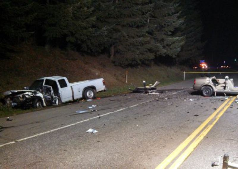 by: OSP - Pictured is the scene after Sunday night's crash that resulted in the death of an Oregon City woman.