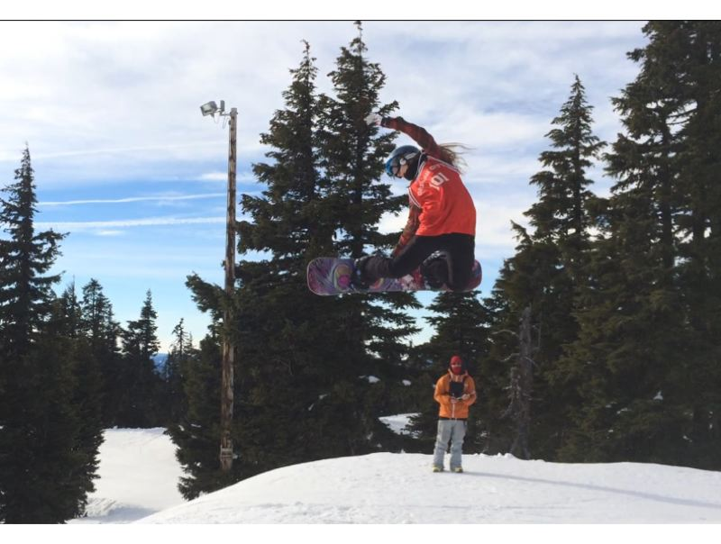 by: JOHN BRAWN - Oregon City High School junior Sierra Clasen wows the judge with her execution of a stunt called the method during slopestyle compettion at Timberline in mid-January. Clasen won first place in three events to lead Oregon City to the state title at this years Oregon Interscholastic Snowboard Association State Championships, held at Mt. Bachelor March 13-15.