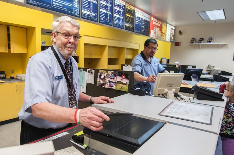 by: SPOKESMAN PHOTO: JOSH KULLA - Wilsonville Post Office employee Steve Sanks has been a fixture behind the counter of the Wilsonville facility since it opened in 1994. He retires March 31, and there are a lot of people who are going to miss his presence.
