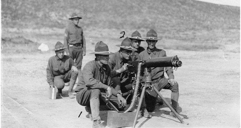 by: OREGON NATIONAL GUARD - This machine gun crew didn't see action along the Mexican border in 1916, but may have in Europe during World War I the following year.