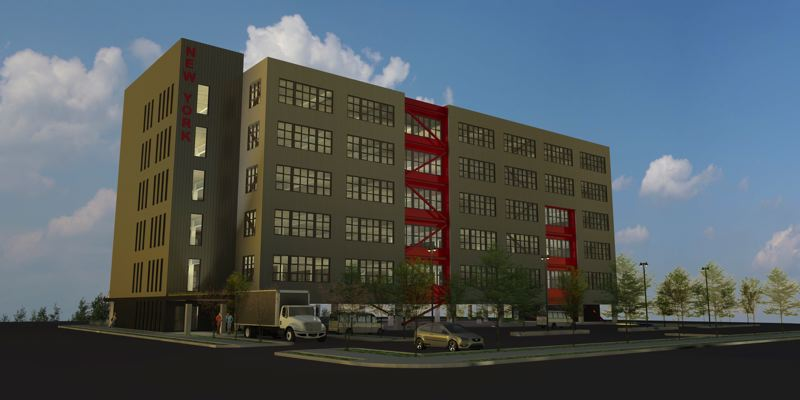 by: COURTESY OF DI LORETO ARCHITECTS - A rendering of the New York, the new multistory industrial building under construction in Northwest Portland.