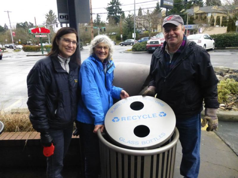 by: SUBMITTED PHOTO - Cindy Eldkrona, Jeanne Roy and Ray Berardinelli of the Hllsdale Main Street Sustainability Committee with one of the new recycling bins.