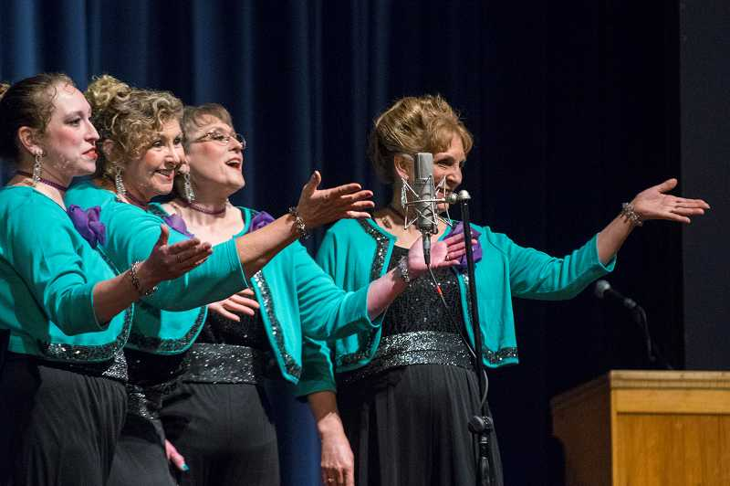 With lead Debby Loundagin, tenor Ruth Peterson, baritone Lynn Smith and bass Tarry Smith sounding the right notes, 4 Tune Tellers rocked the Forest Grove High School stage Saturday.