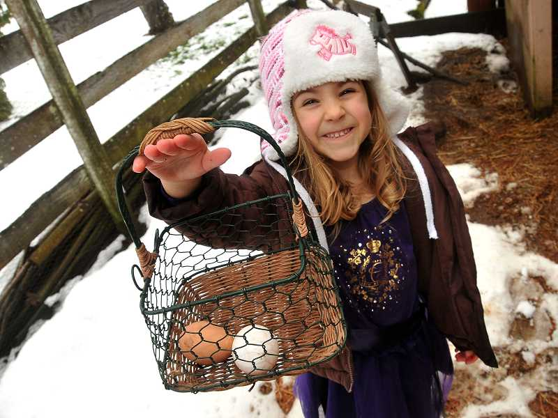 by: PAMPLIN MEDIA GROUP: VERN UYETAKE - Assigned to gather eggs, Kiera Taylor, 5, proudly shows off the results of her efforts.
