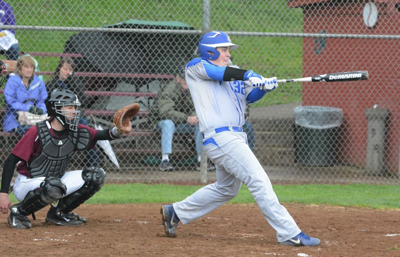 by: TIMES PHOTO: MATT SINGLEDECKER - Aloha first baseman Taylor Nelson drove in four runs for the Warriors who crushed Milwaukee in preseason play on March 20.