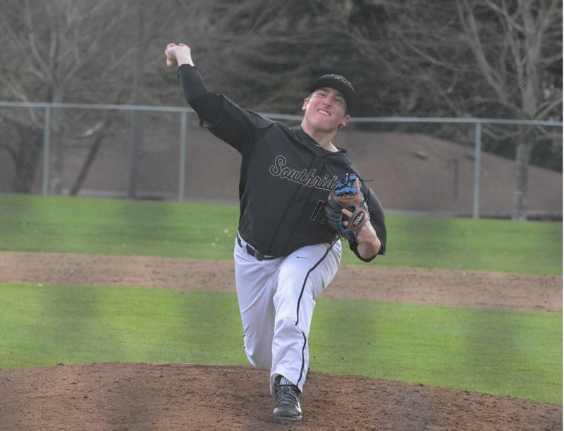 by: TIMES PHOTO: MATT SINGLEDECKER - Southridge junior pitcher Parker Stidham has taken over as the Skyhawks Tuesday starter and hopes to set the tone in each Metro League series this season.