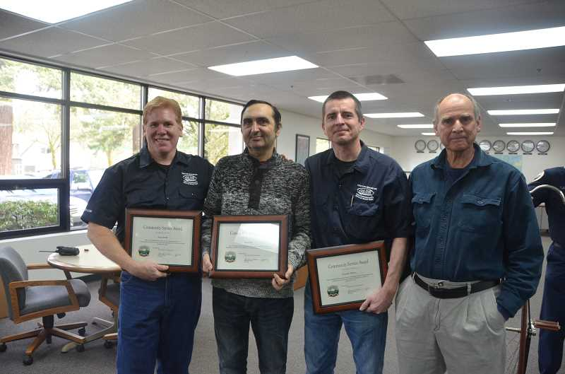 by: SUBMITTED PHOTO: GERT ZOUTENDIJK - Kool Stop was recognized for its dedication to CPR training on Feb. 19. From the left are Randy Smith, Aleksander Ovanesyants, Tim Watson and Kool Stop owner Richard Everett.