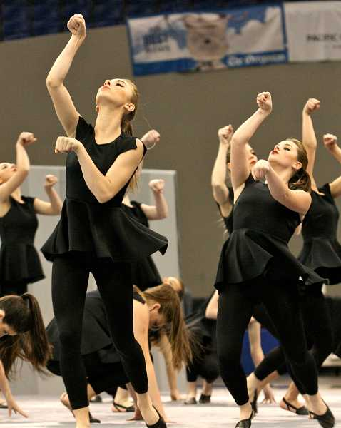 by: TIDINGS PHOTO: J. BRIAN MONIHAN - From left, Maddie Darrow and Abbi Maybee perform with the Debs at the OSAA dance and drill state championship.