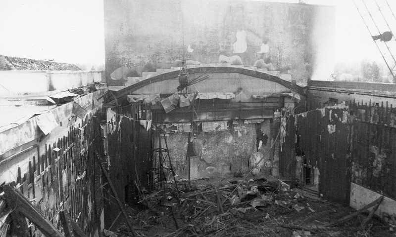 by: DAVID NIESLANIK COLLECTION; COURTESY OF THE BEAVERTON HISTORICAL SOCIETY - This is a shot of the theater following the devastating fire that gutted the facility. Firefighter Terry Bowman recalls that the fire caused steam to emit from a drinking fountain near the theater and that a large glass window heated to the point that it exploded, throwing firefighters down a hallway.