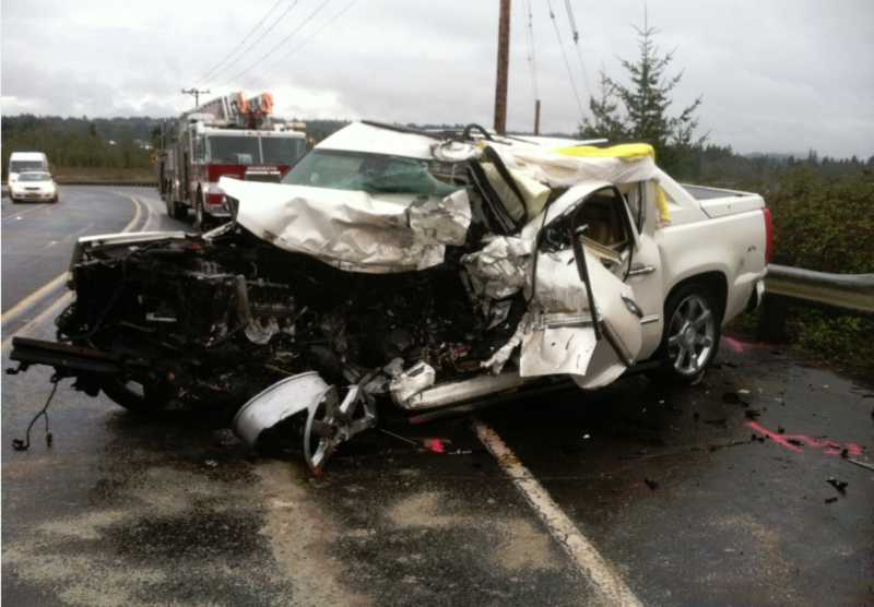 Authorities say an Aloha man died after his car crashed into a dump truck traveling on Southwest Roy Rogers Road on Wednesday morning.