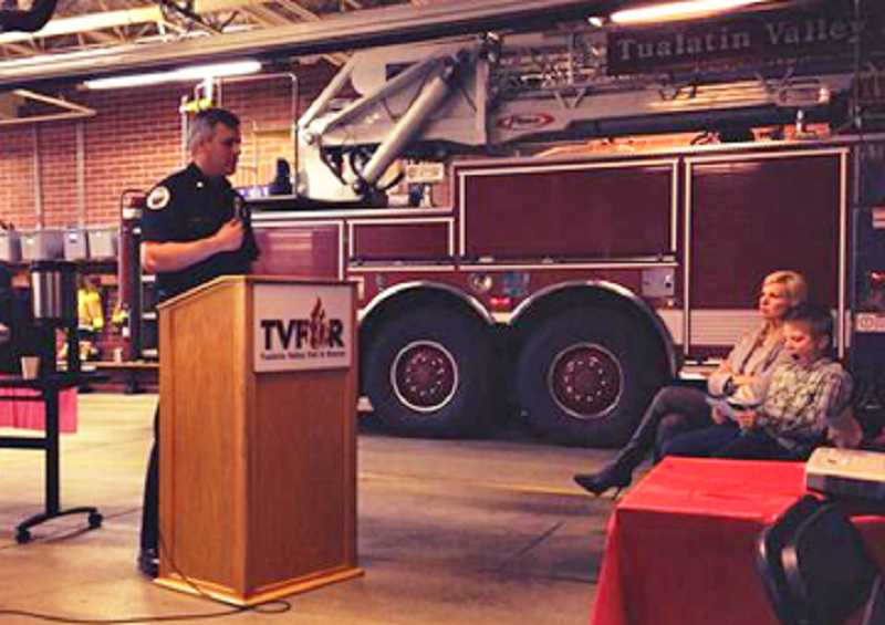 by: COURTESY OF TUALATIN VALLEY FIRE & RESCUE - GETTING THE FACTS OUT - Tualatin Valley Fire & Rescue Chief Mike Duyck speaks to the Beaverton Forum at Station 67 about progress on the district's Community Vision goals.